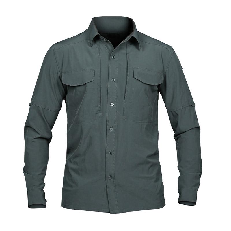 Men Long-Sleeve Woven Cargo Shirt